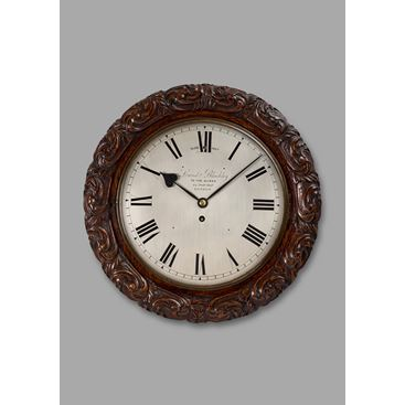 VICTORIAN ANTIQUE OAK CASED WALL CLOCK BY LUND & BLOCKLEY OF LONDON