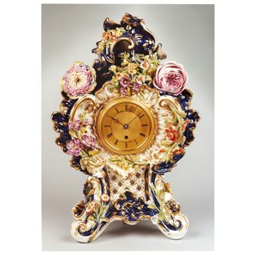 VICTORIAN ANTIQUE PORCELAIN CLOCK BY ADAM THOMSON OF BOND STREET LONDON