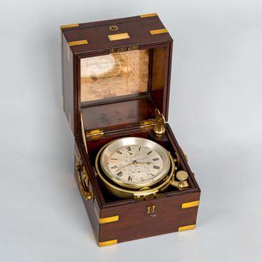 Antique 2-Day Marine Chronometer in Mahogany Case by Widenham, London