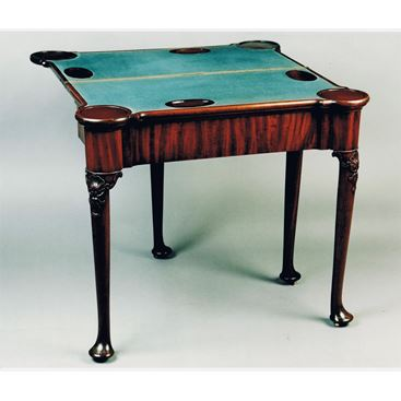 ANTIQUE ENGLISH 18TH CENTURY GEORGE II MAHOGANY TWO TIER CARD TABLE