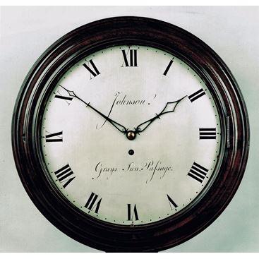 EARLY 19TH CENTURY ANTIQUE MAHOGANY CASED WALL CLOCK BY JOHN JOHNSON OF LONDON