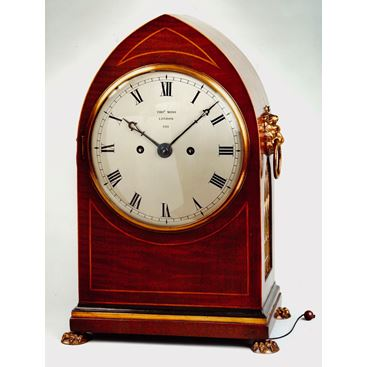 19TH CENTURY ANTIQUE REGENCY MAHOGANY BRACKET CLOCK BY THOMAS MOSS OF LONDON
