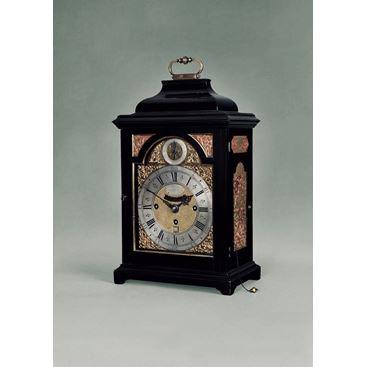 18th Century Antique George II Ebony Bracket Clock by Nicholas Lambert of London