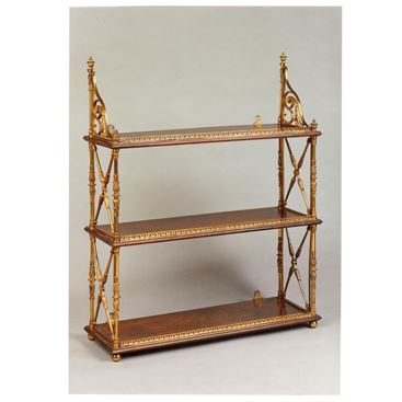 Regency Ormolu-Mounted Rosewood Tiered Hanging Shelves in The Style of McLean